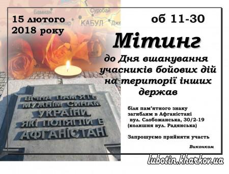 15 лютого - Мітинг до Дня вшанування учасників бойових дій на території інших держав