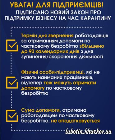 Зміни в законодавстві щодо фінансової підтримки бізнесу на час карантину